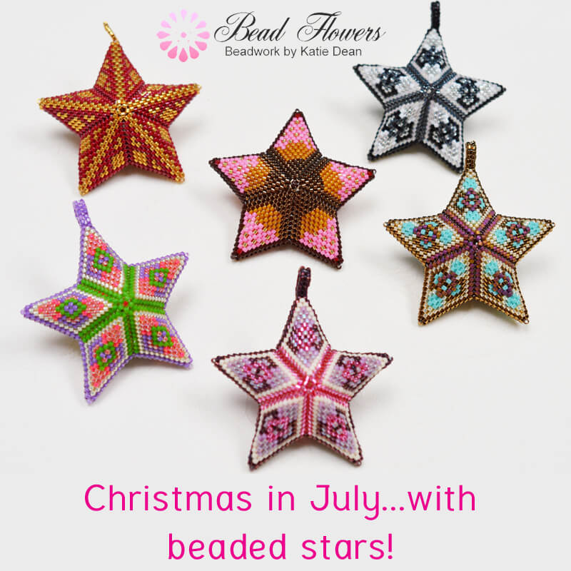 Beaded stars for Christmas in July, Katie Dean, Beadflowers